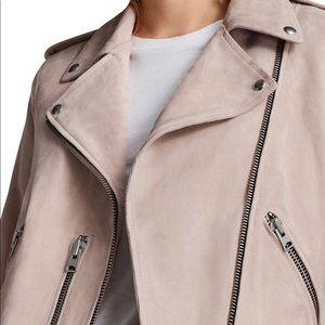 All Saints Jackets & Coats - AllSaints Pink Suede Balfern biker